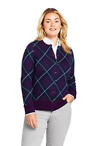 Women s Plus Size Supima Cotton Plaid Cardigan Sweater 71c6d411f