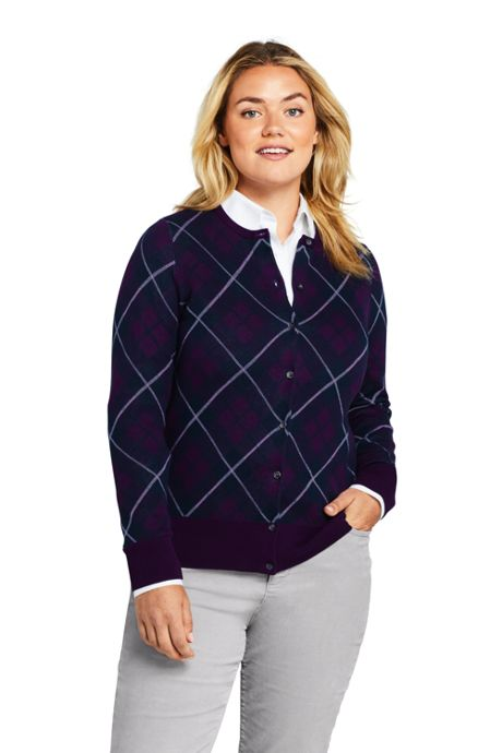 Women's Plus Size Supima Cotton Plaid Cardigan Sweater