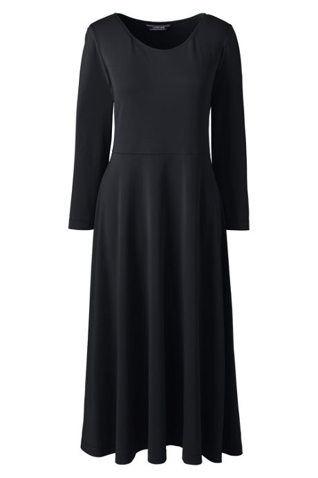 Women's Plus Size 3/4 Sleeve Matte Jersey Aline Dress