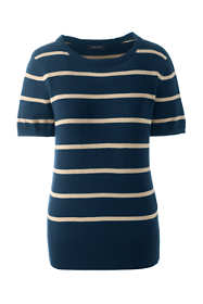 Women's Tall Supima Short Sleeve Stripe Sweater