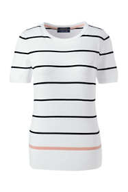 Women's Supima Short Sleeve Stripe Sweater