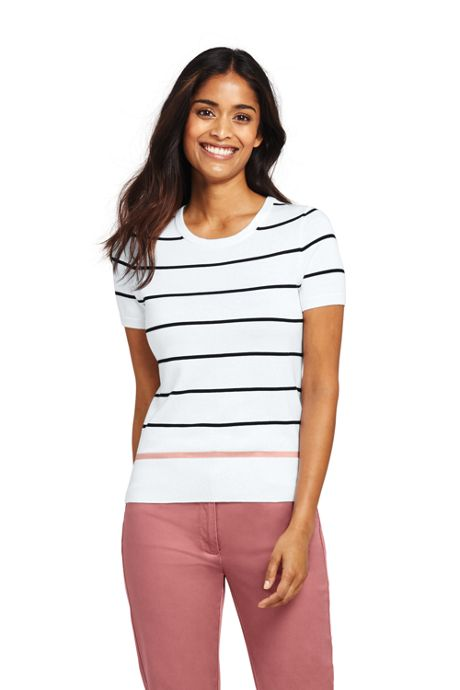 Women's Supima Short Sleeve Stripe Sweater