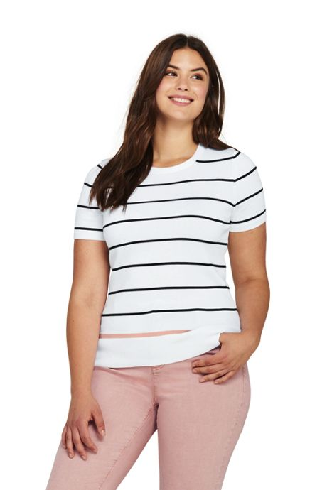 Women's Plus Size Supima Short Sleeve Stripe Sweater