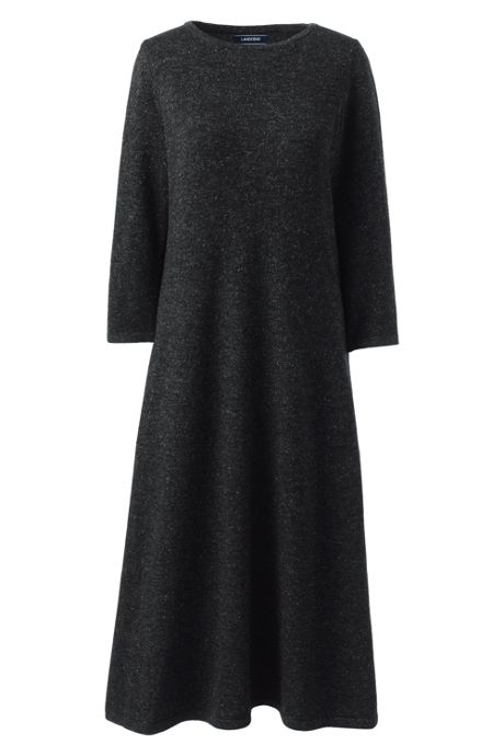 Women's Petite 3/4 Fit and Flare Sweater Dress