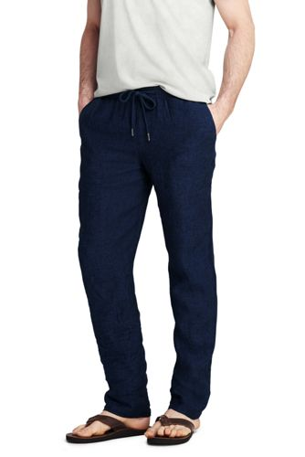 Men's Linen Trousers with Elastic Waist