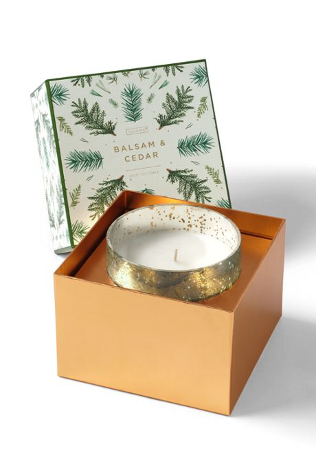 Balsam and Cedar Luxe Sanded Mercury Glass Candle