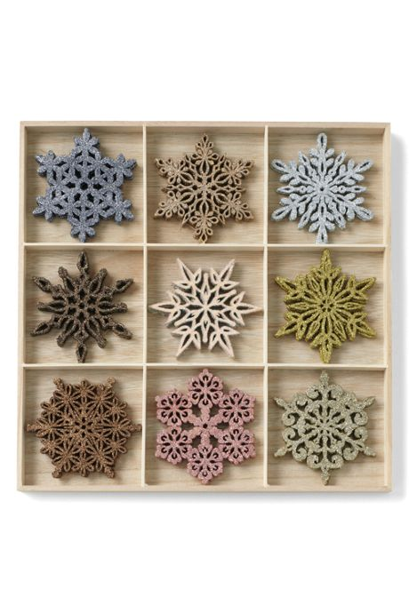 Shimmering Wooden Snowflake Christmas Ornaments (set of 27)