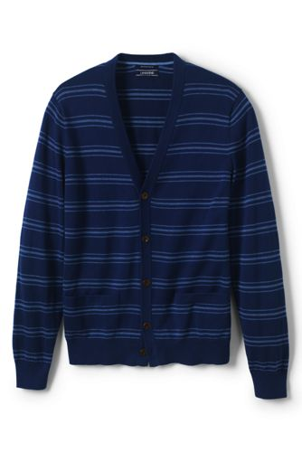 Men's Birdseye Stripe Fine Gauge Cotton Cardigan