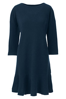 Women's Cashmere Knit Ruffle Hem Dress