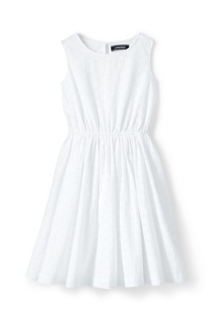 c56fc05b4df Girls' Sleeveless Dress in Broderie Anglaise | Lands' End