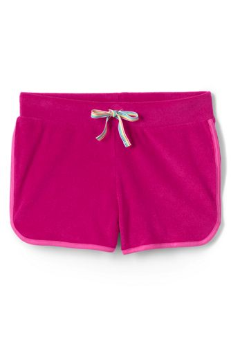 Lands' End Girls' Towelling Beach Shorts - 8-9 years, Pink thumbnail