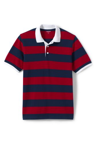 Men's Tailored Fit Short Sleeve Rugby Stripe Original Mesh Polo by Lands' End