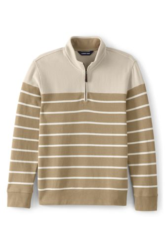 Men's Striped Brushed Rib Half Zip Jumper