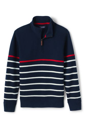 Men's Breton Stripe Bedford Rib Quarter Zip Sweater by Lands' End