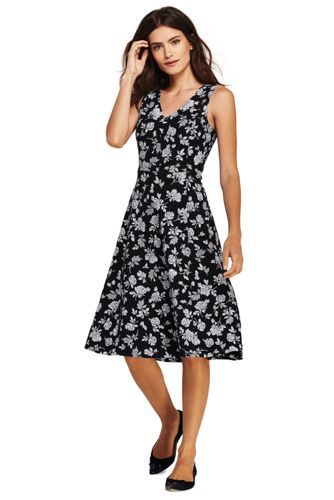 Womens Print V-neck Ponte Jersey Dress - 10 - BLACK Lands End Outlet Sale Online Cheap Reliable Discount Best Place Sale Best Prices Quality From China Cheap xFG8Jm