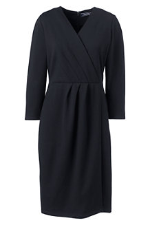 Women's Three-quarter Sleeve Ponte Wrap Dress