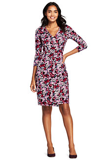 Women's Floral Pattern Ponte Jersey Wrap Dress