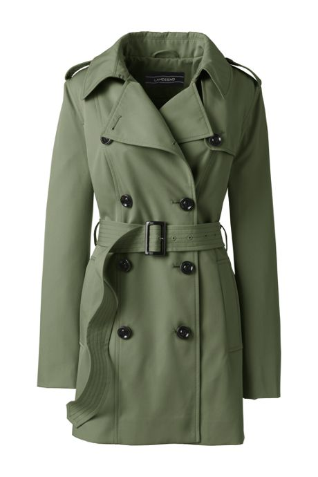 Women's Plus Size Petite Cropped Trench Coat