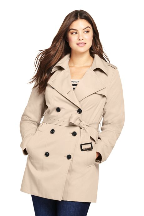 Women's Plus Size Cropped Trench Coat