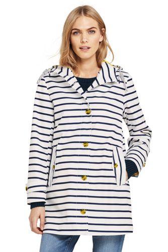 Women's Petite Striped Rain Coat