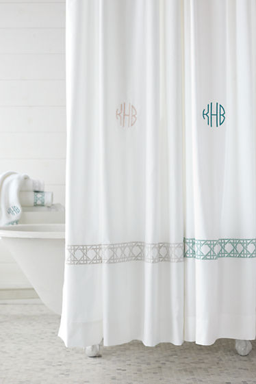 Cane Weave Embroidered Shower Curtain from Lands\' End