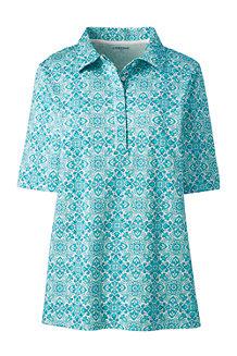 レディス・ピマコットン・インターロック・おでかけシャツ/柄/五分袖