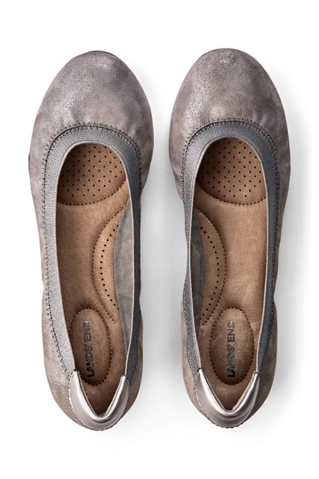 Women's Wide Width Comfort Elastic Slip On Ballet Flat Shoes