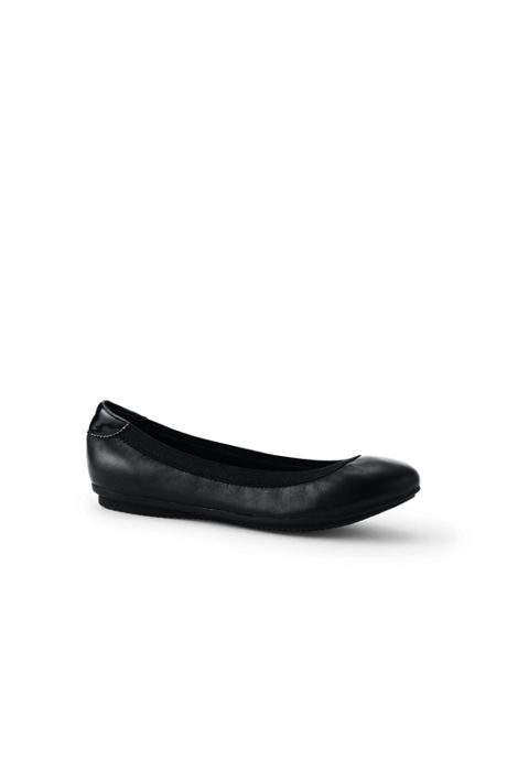 School Uniform Women's Wide Width Comfort Elastic Slip On Ballet Flat Shoes