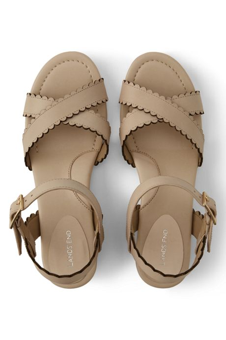 Womens Wide Heeled Scallop Sandals