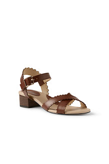 Women's Scalloped Block Heel Sandals