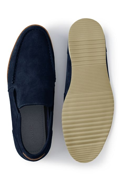 School Uniform Men's Wide Width Comfort Suede Leather Slip On Loafer Shoes