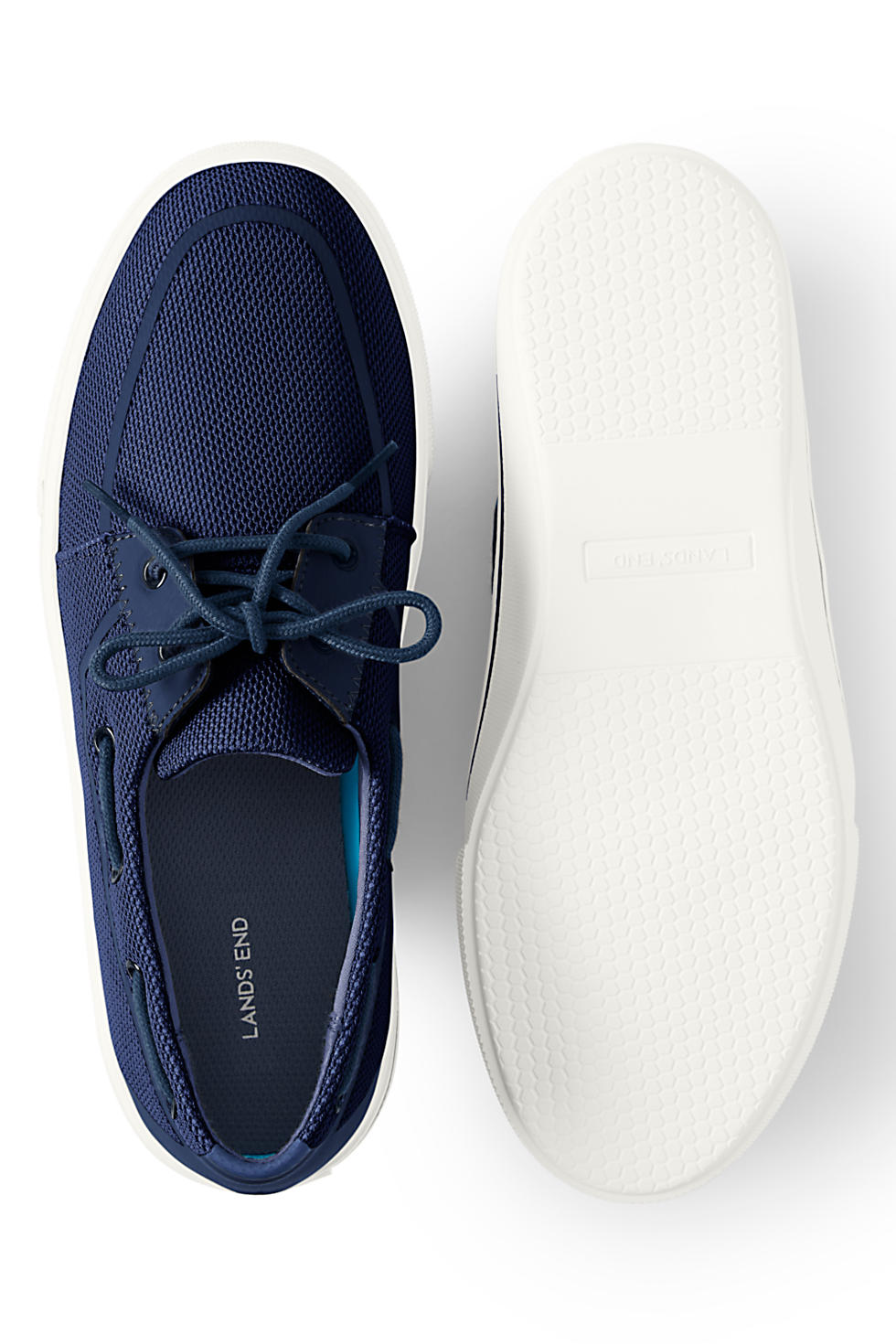Lands' End Men's Lightweight Mesh Boat Shoes ( Light Navy)