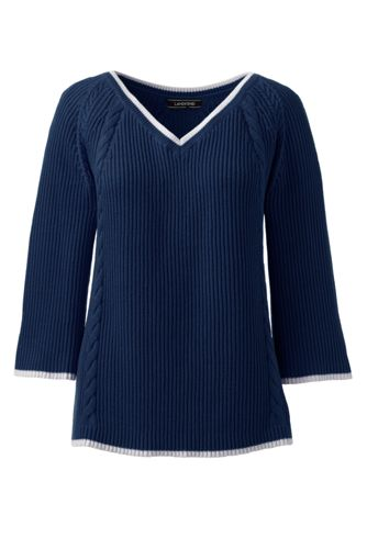 Women's Cotton Cable V-neck Jumper