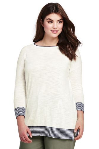 Le Pull Long Ample Rayé Manches 3/4, Femme Grande Taille