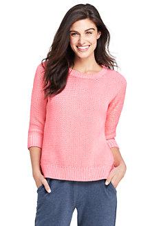 Melierter Pullover im Baumwollmix mit 3/4-Ärmeln für Damen