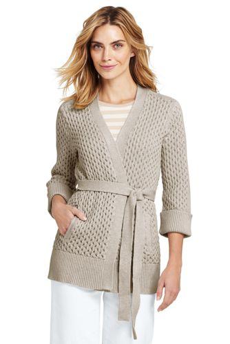 Le Cardigan Drifter Texturé Ouvert en Coton, Femme Stature Standard