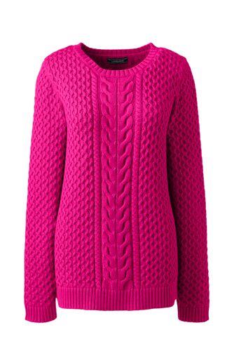 Baumwoll-Pullover Drifter mit mittigen Zöpfen für Damen in Petite-Größe