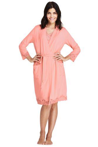 Le Kimono en Modal Stretch Finition Dentelle, Femme Stature Standard