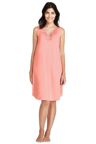 Women's Supersoft Sleeveless Lace Trim Nightgown