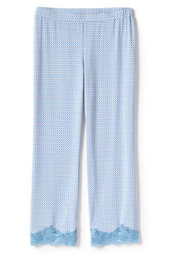 Le Pantalon de Pyjama Court Imprimé en Modal Stretch et Dentelle, Femme Stature Petite