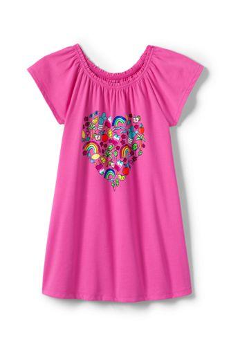Little Girls' Gathered Graphic Long T-shirt