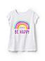 Le T-Shirt Graphique et Message Courtes, Petite Fille