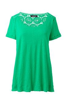 Women's Crochet Trim Linen T-shirt