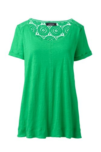 Women's Plus Crochet Trim Linen T-shirt