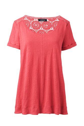 Le T-Shirt en Lin et Dentelle au Crochet, Femme Stature Standard