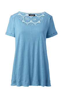 Women's Crochet Trim Linen T-shirt