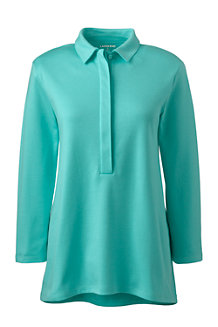 Women's Elbow-sleeve Pima Polo Shirt