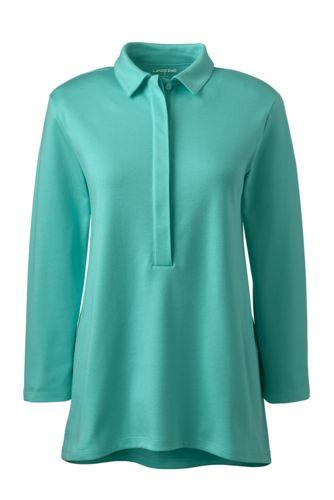 Womens Petite Three-quarter length sleeve Pima Polo Shirt - 10 -12 - WHITE Lands End