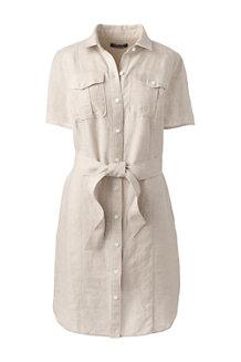 Womens Utility Linen Shirt Dress - 14-16 Lands End u1fZE