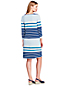 Women's 3-quarter Sleeve Striped Ponte Dress